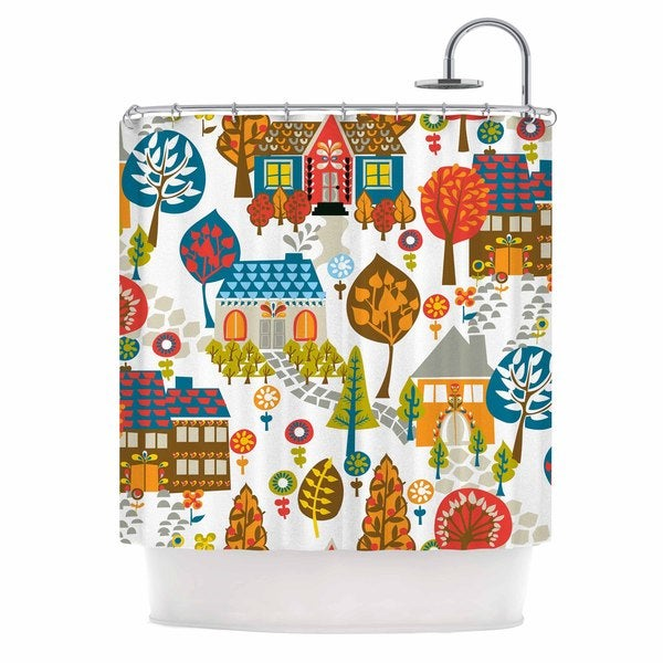 "Kess InHouse Agnes Schugardt ""In The Village"" Vintage MulticolorShower Curtain, 69"" x 70"""