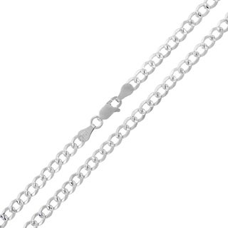 ITProLux 0.925 Sterling Silver 4-millimeter Solid Cuban Curb Link Diamond-cut Necklace Chain