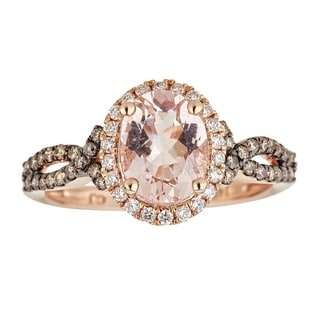 Anika and August 14k Rose Gold Oval-cut Large Mozambique Morganite and Diamond Ring