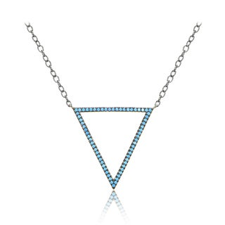 Glitzy Rocks Sterling Silver Nano Simulated Turquoise Open Triangle Necklace
