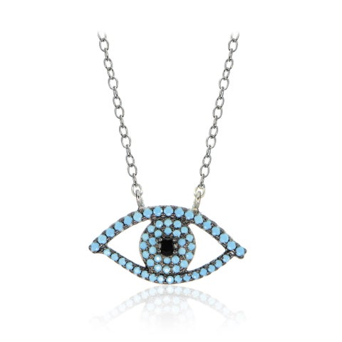 Glitzy Rocks Sterling Silver Nano Simulated Turquoise and Black Cubic Zirconia Evil Eye Necklace