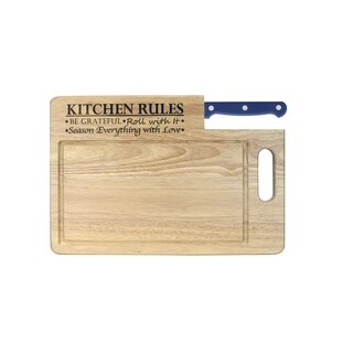 """Ginsu Custom Gift Collection """"Kitchen Rules"""" Engraved Cutting Board with Blue Santoku Knife"""