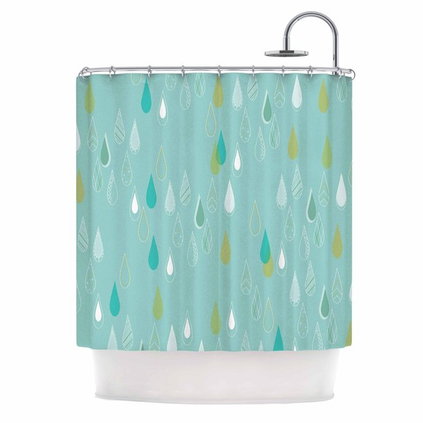 "Kess InHouse Bridgette Burton ""Feathered Rain"" Teal GoldShower Curtain, 69"" x 70"""
