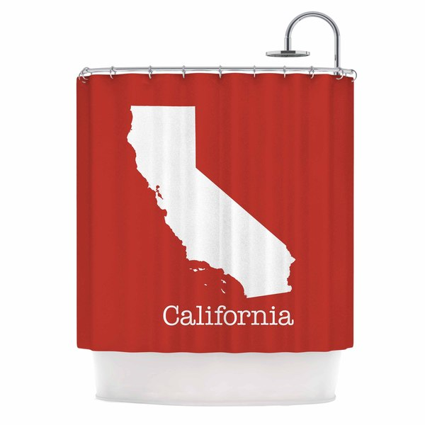 KESS InHouse Bruce Stanfield 'California State On Golden Red' Shower Curtain (69x70)