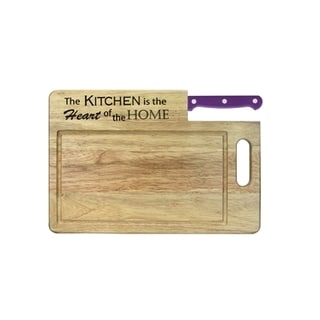 Essential 'The Kitchen Is the Heart' Cutting Board with Santoku
