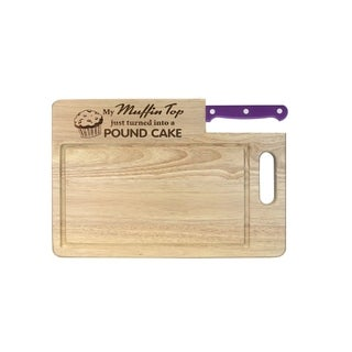 Ginsu Essential Series Purple Stainless Steel, Wood Laser Etched Cutting Board with Santoku