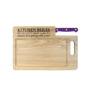 """Ginsu Custom Gift Collection """"Kitchen Rules"""" Engraved Cutting Board with Purple Santoku Knife"""