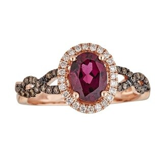 Anika and August 10k Rose Gold Oval-cut Rodholite and Diamond Ring