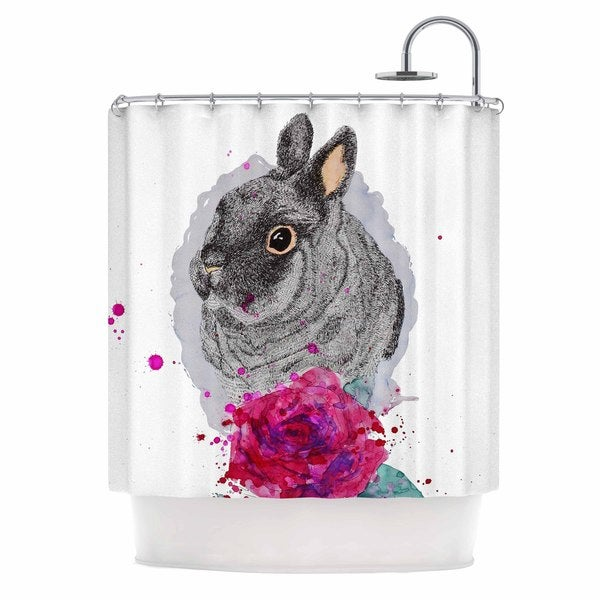 KESS InHouse Cecibd 'BunnyRose' Shower Curtain (69x70)