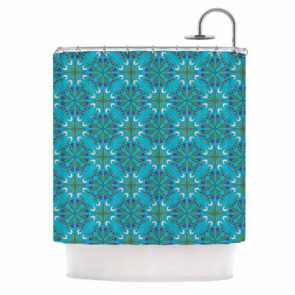 KESS InHouse Mayacoa Studio 'Morrocan Tile In Blue' Shower Curtain (69x70)