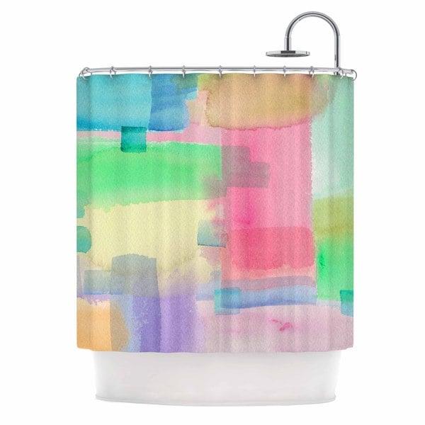 KESS InHouse Catherine Holcombe 'Watercolor Brushstrokes' Shower Curtain (69x70)