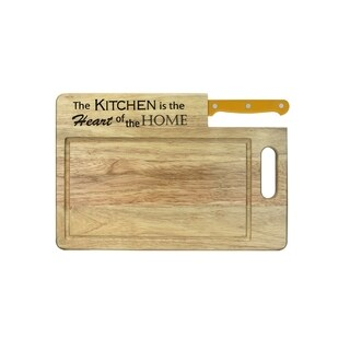 "Ginsu Custom Gift Collection ""Kitchen is the Heart of the Home"" Engraved Cutting Board with Yellow Santoku Knife"
