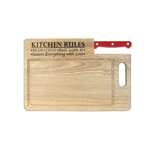 Ginsu Essential Series 'Kitchen Rules' Red Wood Cutting Board with Stainless Steel Santoku Knife