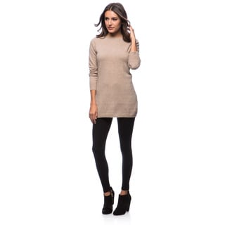 Premise Long Sleeve Jersey Boat Neck Back Contrast Seam Cashmere Tunic Medium Size in Heather Pink (As Is Item)