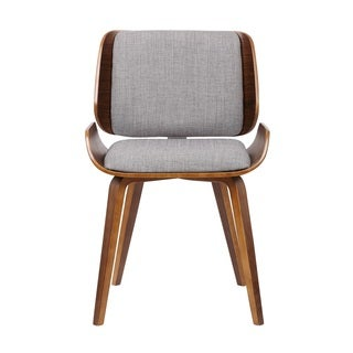 US Pride Furniture Walnut Plywood Grey Fabric Dining Chair with Solid Wood Legs