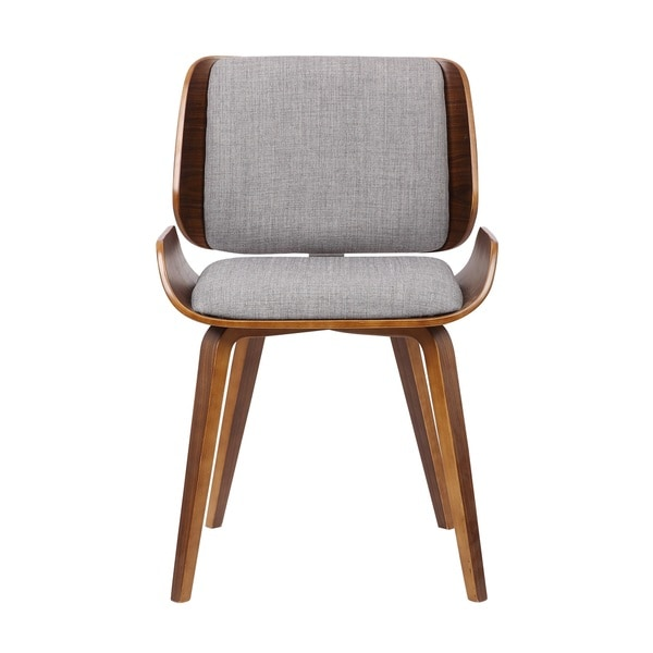 US Pride Furniture Walnut Plywood Grey Fabric Dining Chair