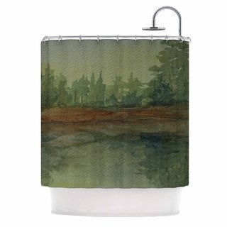 KESS InHouse Cyndi Steen 'Green And Gold Reflections' Shower Curtain (69x70)