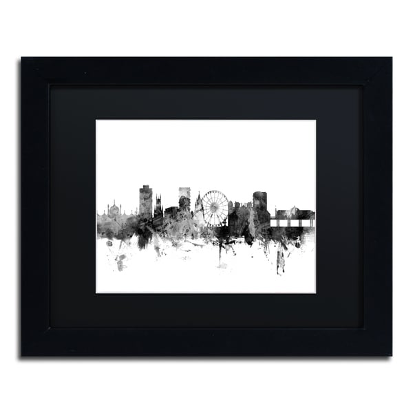 Michael Tompsett 'Brighton England Skyline B&W' Matted Framed Art