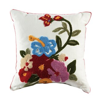 eLIGHT Marigold Embroidered Cotton 18-inch Throw Pillow