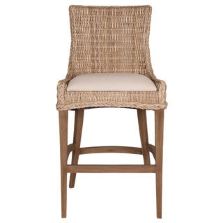 Victor Mahogany Wicker Barstool (Set of 2)