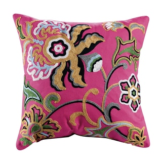 Dahlia Embroidered Cotton 18-inch Throw Pillow