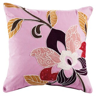 eLIGHT Blossom Multicolored Cotton and Polyester 18-inch x 18-inch Embroidered Floral Throw Pillow