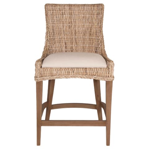 Gray Manor Victor Tan/Grey/Off-White Wood, Wicker, and Fabric Counter Stool (Set of 2)