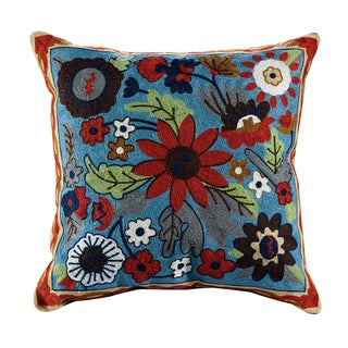 eLIGHT Liam Blue/Green/Red Cotton 18-inch x 18-inch Embroidered Floral Throw Pillow