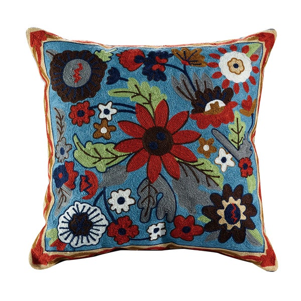 eLIGHT Liam Blue/Green/Red Cotton 18-inch x 18-inch Embroidered Floral Throw Pillow - Free ...
