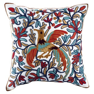 eLIGHT Peacock Embroidered Cotton 18-inch Throw Pillow