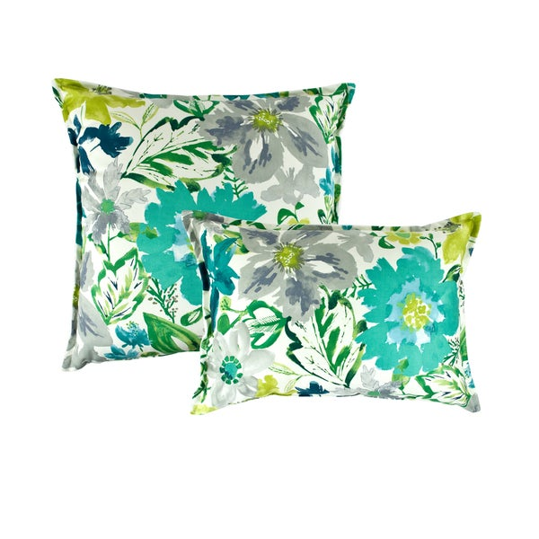 Sherry Kline Summer Floral Teal Combo Pillows (Set of 2). Opens flyout.