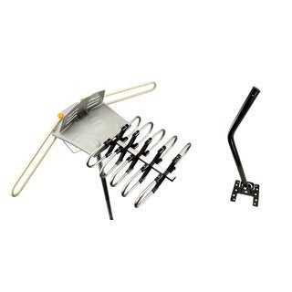Super-amplified Outdoor Remote-controlled HDTV Antenna with UHF/VHF FM Radio and 360-degree Motorized Rotation Kit