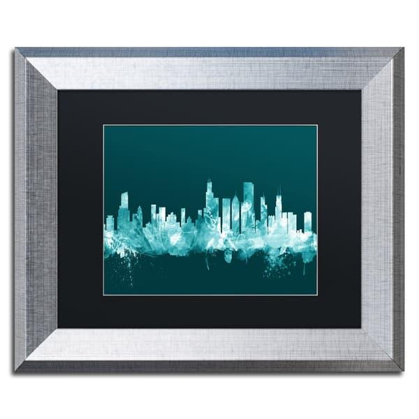 Shop Michael Tompsett Chicago Illinois Skyline Teal Matted Framed