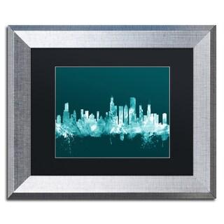 Michael Tompsett 'Chicago Illinois Skyline Teal' Matted Framed Art