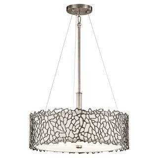 Kichler Lighting Silver Coral Collection 3-light Classic Pewter Pendant/Semi Flush Mount