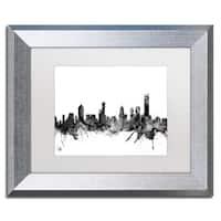 Michael Tompsett 'Melbourne Skyline B&W' Matted Framed Art