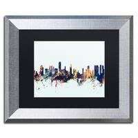 Michael Tompsett 'Honolulu Hawaii Skyline Blue' Matted Framed Art