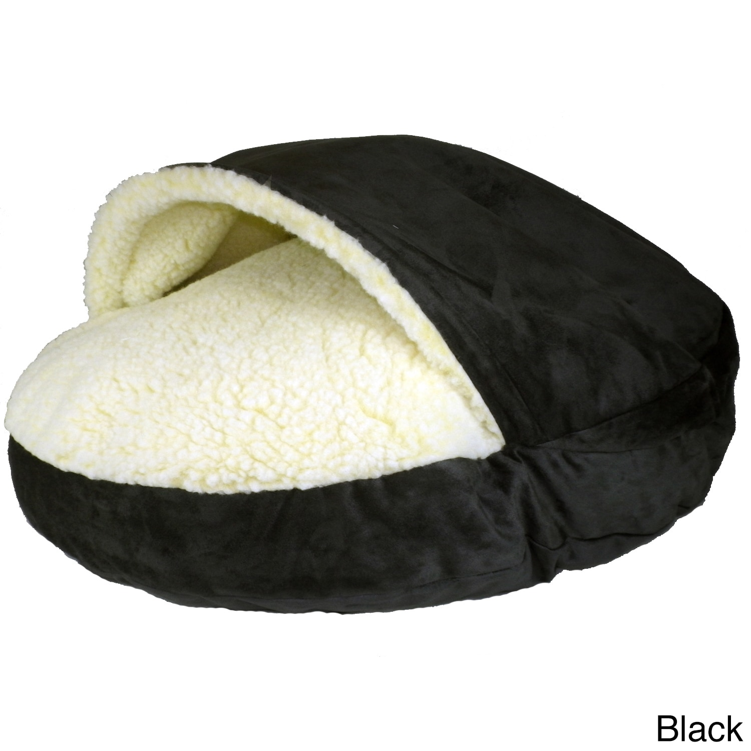 Snoozer Luxury Micro-Suede Cozy Cave Pet Bed (Small-Black...