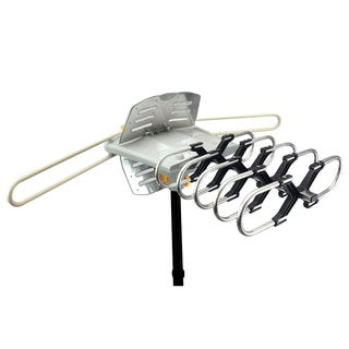 Amplified Outdoor Remote-controlled HDTV Antenna with UHF/VHF FM Radio and 360-degree Motorized Rotation Kit