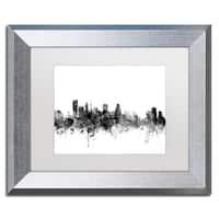 Michael Tompsett 'Baltimore Maryland Skyline B&W' Matted Framed Art
