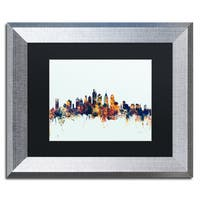Michael Tompsett 'Philadelphia PA Skyline Blue' Matted Framed Art