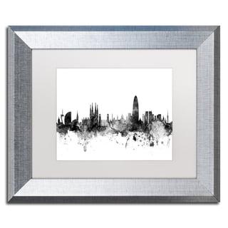Michael Tompsett 'Barcelona Spain Skyline B&W' Matted Framed Art
