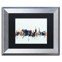 Michael Tompsett 'Edinburgh Skyline Blue' Matted Framed Art