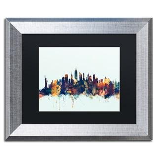 Michael Tompsett 'New York City Skyline Blue' Matted Framed Art
