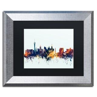 Michael Tompsett 'Las Vegas Nevada Skyline Blue' Matted Framed Art