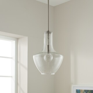 Kichler Lighting Everly Collection Brushed Nickel 10.5-inch diameter 1-light Seeded Glass Pendant