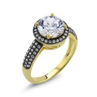 18k Yellow Gold and Black IP Plated Round Cubic Zirconia 'Debra' Ring