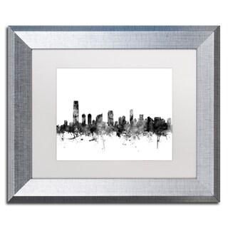 Michael Tompsett 'Jersey City NJ Skyline B&W' Matted Framed Art
