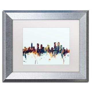 Michael Tompsett 'Denver Colorado Skyline Blue' Matted Framed Art