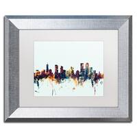 Michael Tompsett 'Denver Colorado Skyline Blue' Matted Framed Art